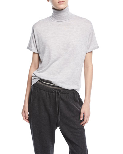 Turtleneck Short-Sleeve Cashmere-Blend Top
