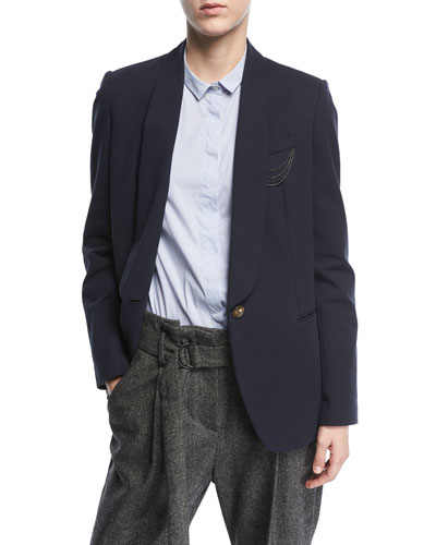 Shawl-Collar One-Button Crepe Blazer with Monili Chain Detail