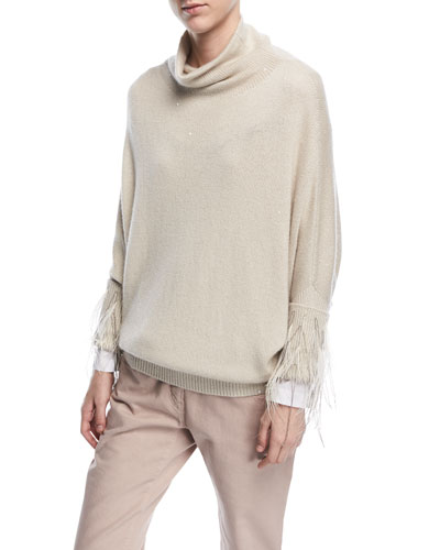 Turtleneck Paillette Cashmere-Silk Sweater with Feather Trim