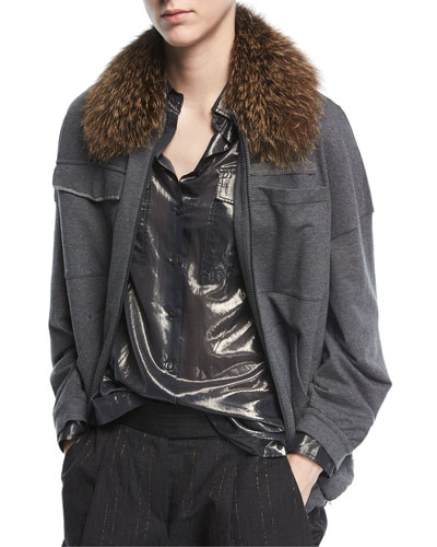 Zip-Front Four-Pocket Jacket with Fox Fur