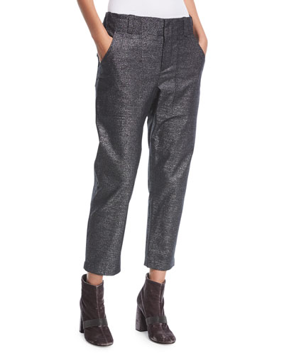 Mid-Rise Straight-Leg Metallic Utility Ankle Pants