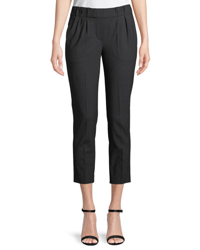 Virgin-Wool Pull-On Ankle Pants with Monili Trim
