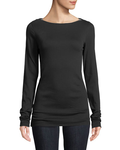 Ribbed Cotton Boat-Neck Tee with Monili Detail