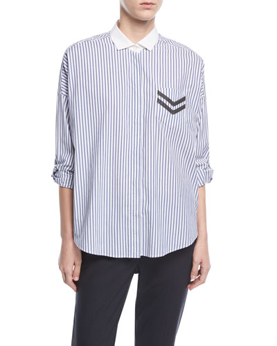 Long-Sleeve Button-Front Striped Poplin Shirt with Pocket Detail
