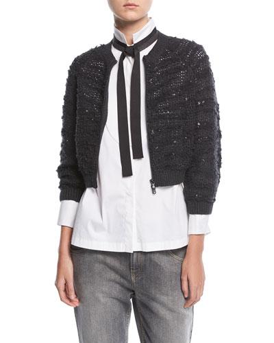 Cashmere Sequin Crop Cardigan