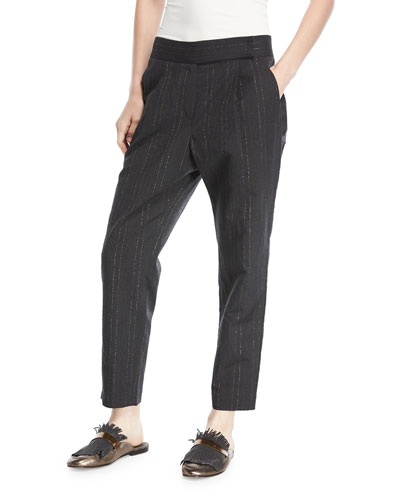 Straight-Leg Linen-Wool Pants with Metallic Stripes