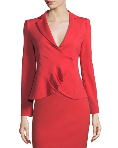 Garden Rose Asymmetrical Ruched Jacket
