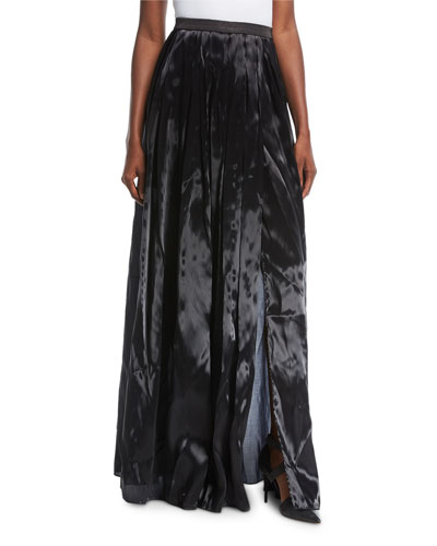 Liquid-Silk Pleated Ball Skirt with Side Slit