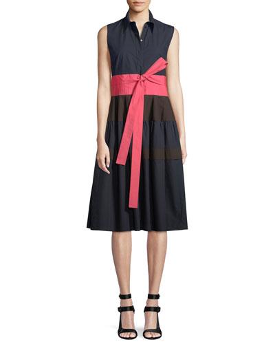 Sleeveless Button-Front Tie-Waist Tricolor Cotton Dress