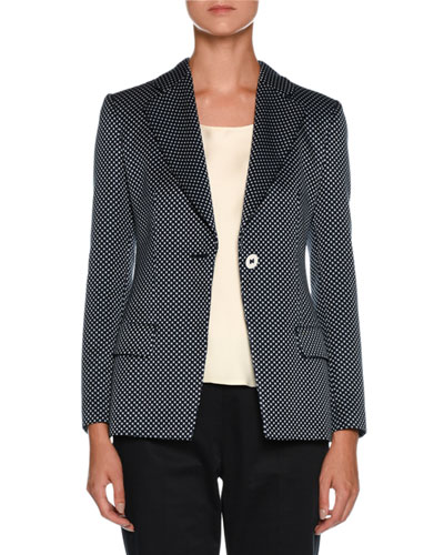 Dotted One-Button Silk-Cotton Jacket