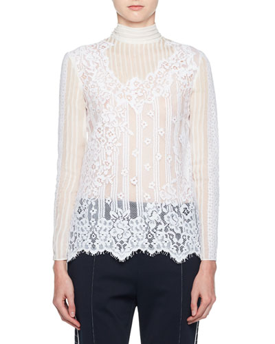 Turtleneck Long-Sleeve Chiffon Lace Blouse