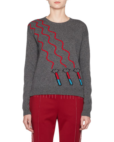 Lipstick Waves Embroidered Sweater