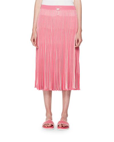 Pleated A-Line Pull-On Midi Skirt