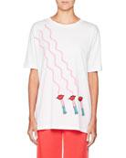 Lipstick-Print Crewneck Short-Sleeve Cotton T-Shirt