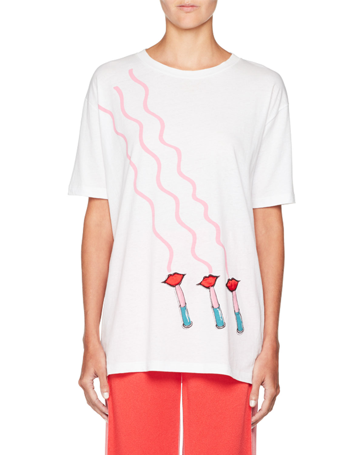 Lipstick-Print Crewneck Short-Sleeve Cotton T-Shirt