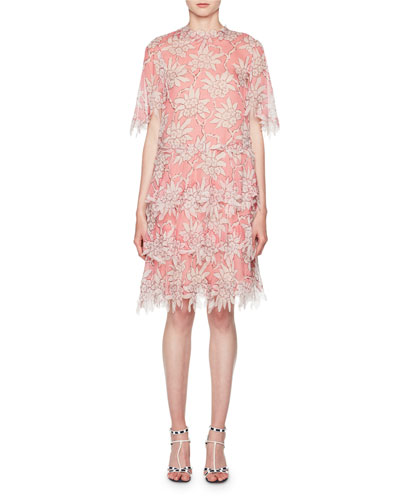 Scalloped Rhododendron Chiffon Dress