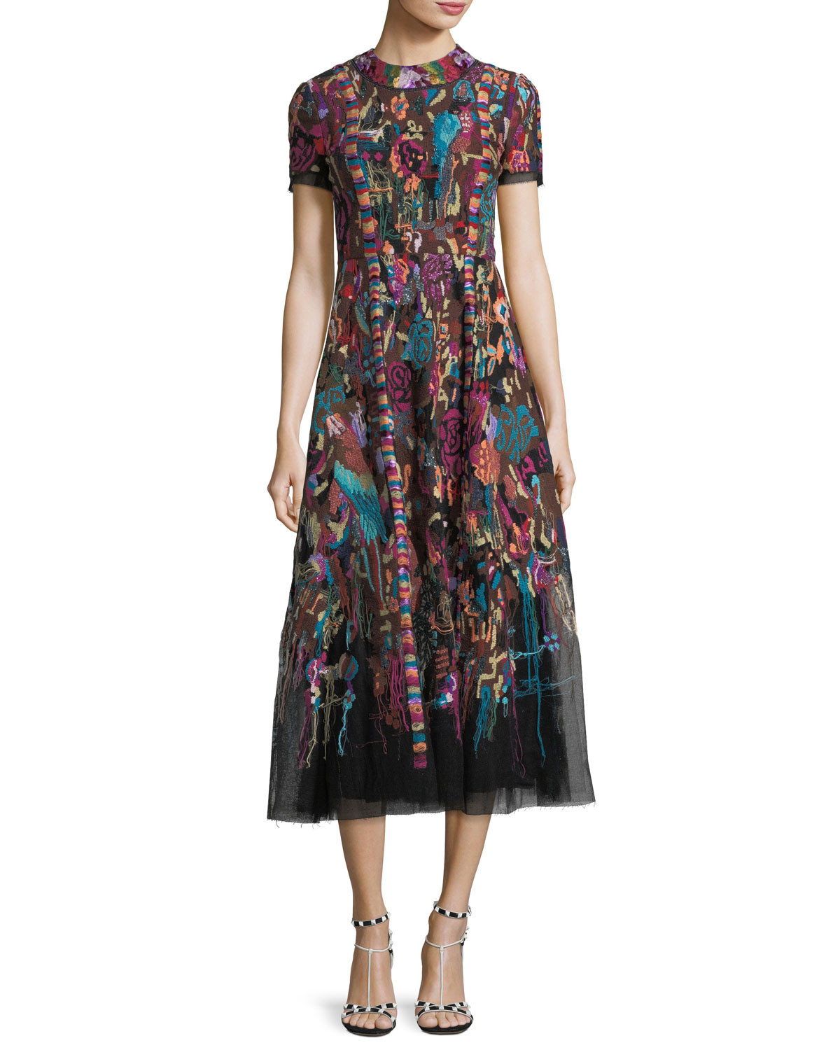 High-Neck Short-Sleeve Carpet-Embroidered Midi Dress
