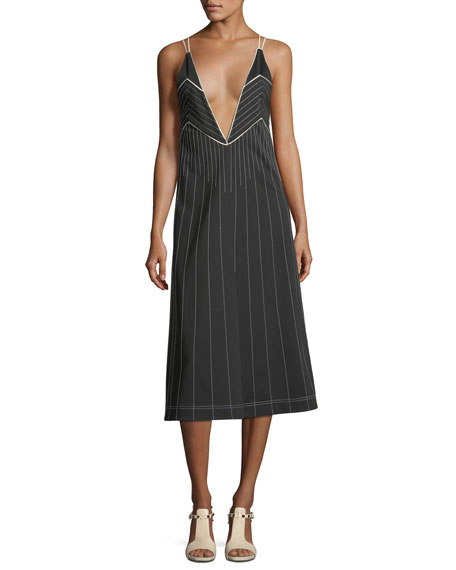 Valentino Plunging Sleeveless Jersey Dress with Contrast Topstitching