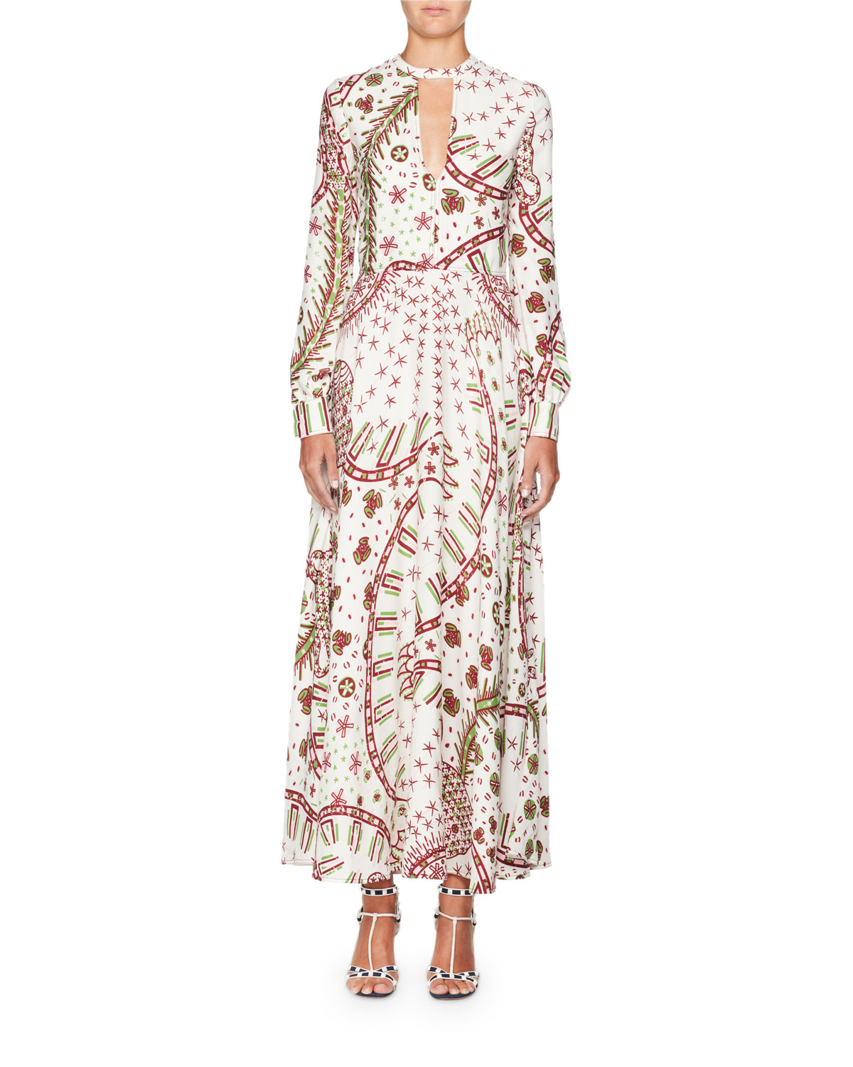 Long-Sleeve Keyhole-Neck Printed A-Line Long Dress