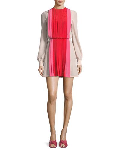 Long-Sleeve Pleated Crepe de Chine Colorblock Mini Dress