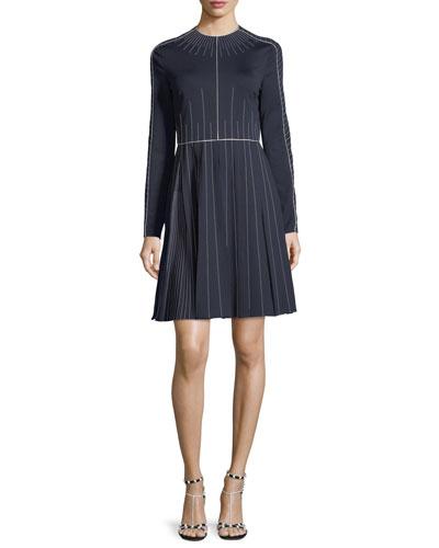 Long-Sleeve Techno Jersey Dress