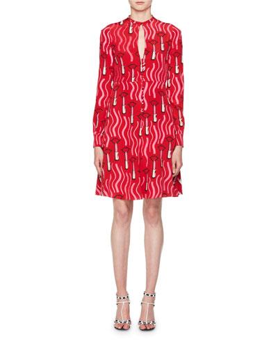 Quick Look. Valentino · Long-Sleeve Crepe de Chine Lipstick-Print Mini Dress