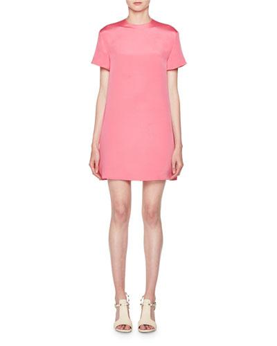Short-Sleeve Silk Shift Dress