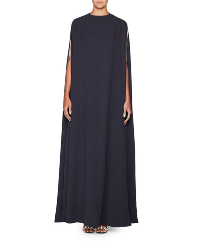 High-Neck Long Silk Crepe Cape Gown w/ Side Panel