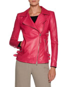 Asymmetric-Zip Lamb Leather Moto Jacket