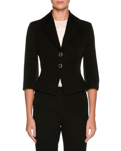 Two-Button 3/4-Sleeve Fitted Wool Jacket