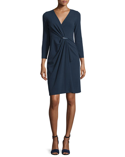 3/4-Sleeve Gathered-Front Dress, Astral Blue