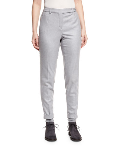 Jari Slim-Leg Cuffed Pants, Powder Angel Melange