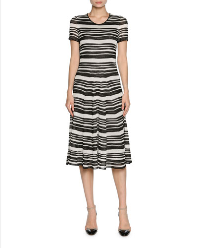 Striped Ottoman Short-Sleeve Dress, White/Black
