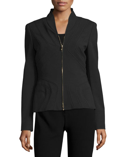 Stand-Collar Zip-Front Jacket, Black