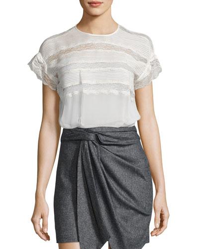 Spike Lace-Trim Silk Top, Ecru