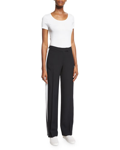 Mid-Rise Straight-Leg Track Pants, Black