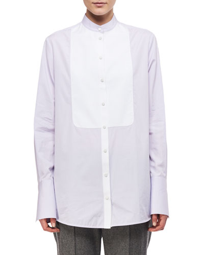 Contrast-Bib Poplin Shirt