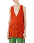 Floral-Lace Sleeveless Lace Top