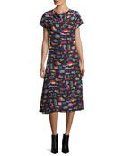 Cyber Underwater World Printed Silk Midi Dress