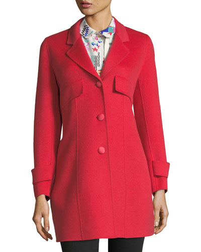 A-Line Button-Front Wool-Cashmere Coat