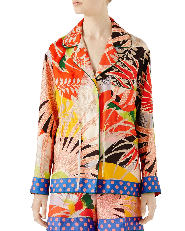 Tropical Bird-Print Pajama Shirt