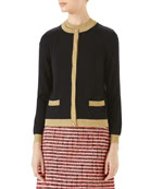 Gucci Cashmere/Silk Cardigan with Metallic Trim