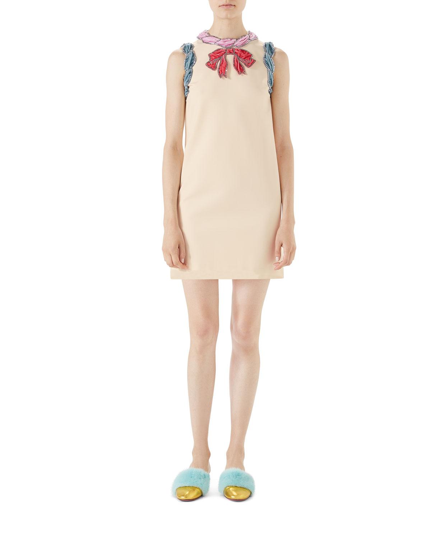 Stretch-Viscose Dress with Velvet Trim