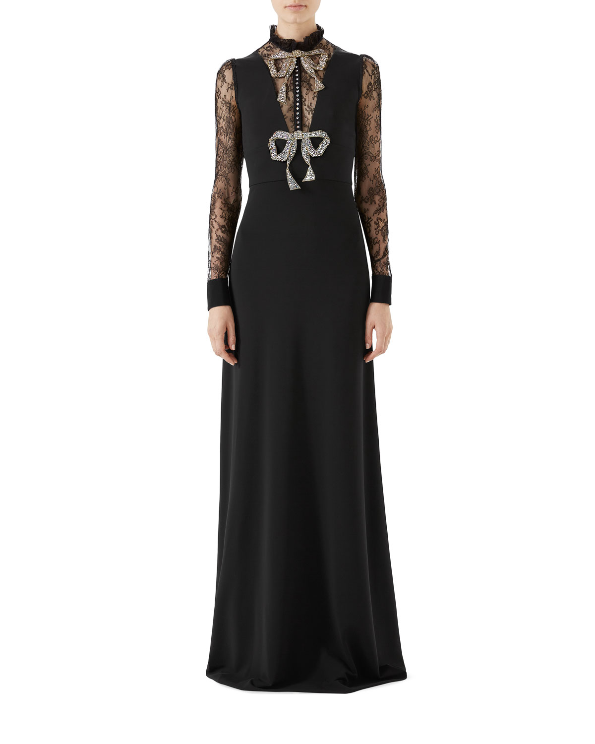 Long-Sleeve Stretch-Jersey Gown w/ Lace & Crystal Bow Detail