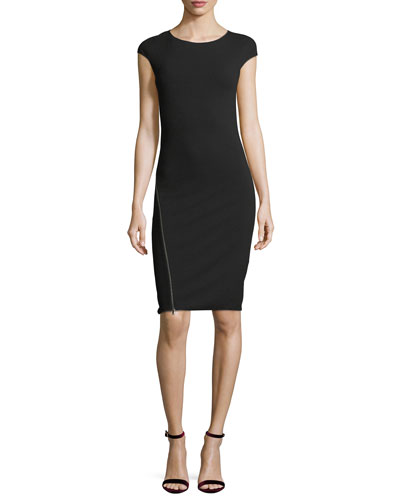 Round-Neck Cap-Sleeve Fitted Midi Dress with Zipper Detail