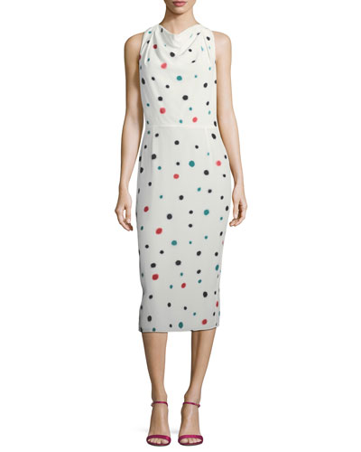 Cosmic-Dot Racerback Sheath Midi Dress