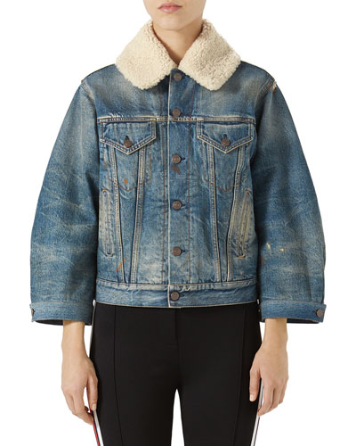 Print Back Denim Jacket With Genuine Shearling Trim, Blue Pattern