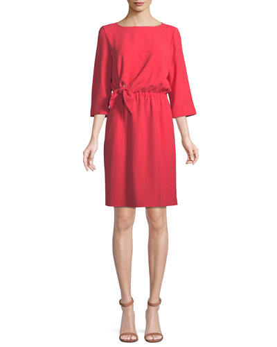 3/4-Sleeve Tie-Waist Dress