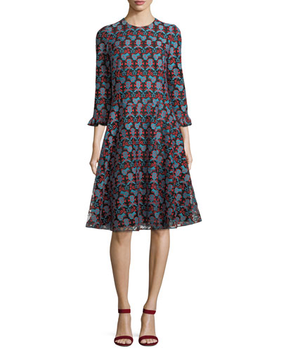 Crewneck Long-Sleeve Printed Midi Dress
