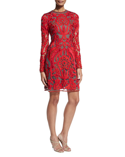 Lace Long-Sleeve A-Line Cocktail Dress, Red